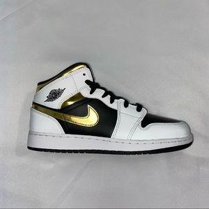 Nike Air Jordan 1 Mid Gs White Gold 7Y 8.5W